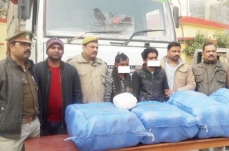 12 लाख का 1 कुण्टल 28 किलो गांजा बरामद,दो तस्करों गिरफ्तार
