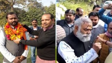 Young man throwing ink at AAP MLA honored