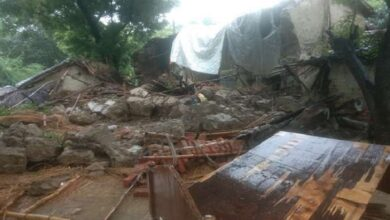 house destroyed due to rain