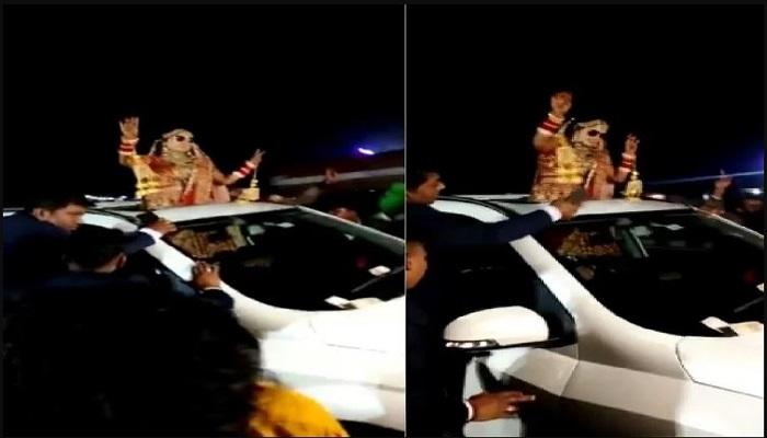 bride was dancing in a car