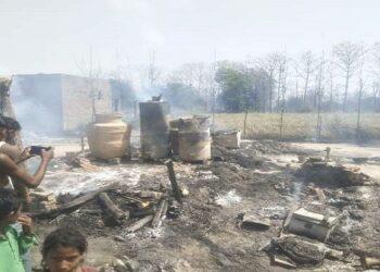 Burning half a dozen houses in a fire