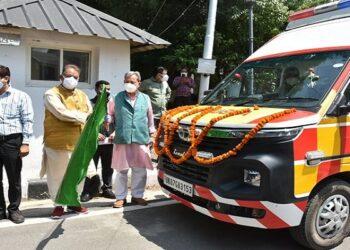CM Tirath leaves for life support ambulance