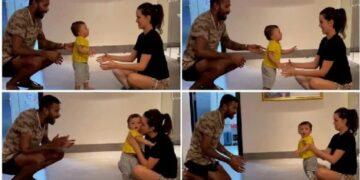 Indian cricketer Hardik Pandya taught his son to walk