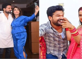 Bhojpuri star Ritesh Pandey shared a selfie with his wife and called himself lucky