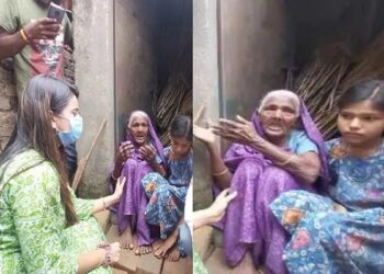Akshara Singh came forward to help the old lady and her granddaughter
