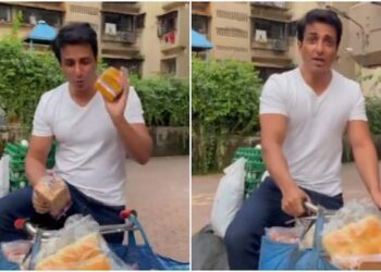 Sonu Sood rode on a bicycle to open supermarket, video went viral