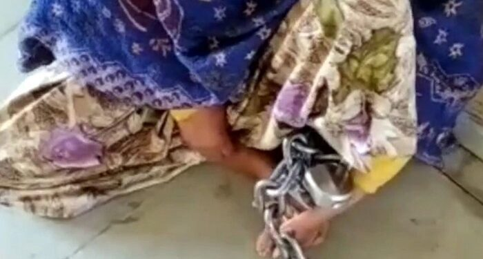 wife tied with a chain